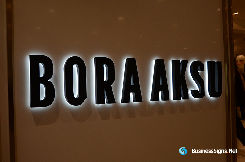 3D LED Backlit Signs With Painted Stainless Steel Letter Shell And Visible Acrylic Back Panel For Bora Aksu