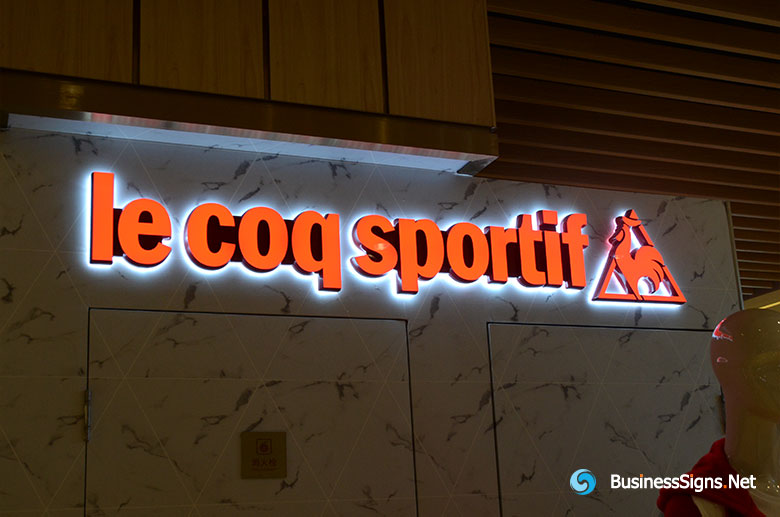 3D LED Double-sided-lit Signs With Painted Engraved Solid Acrylic Letter Shell For Le Coq Sportif