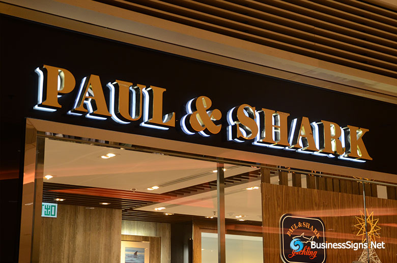 3D LED Backlit Signs With Mirror Polished Gold Plated Letter Shell And Visible Acrylic Back Panel For Paul & Shark