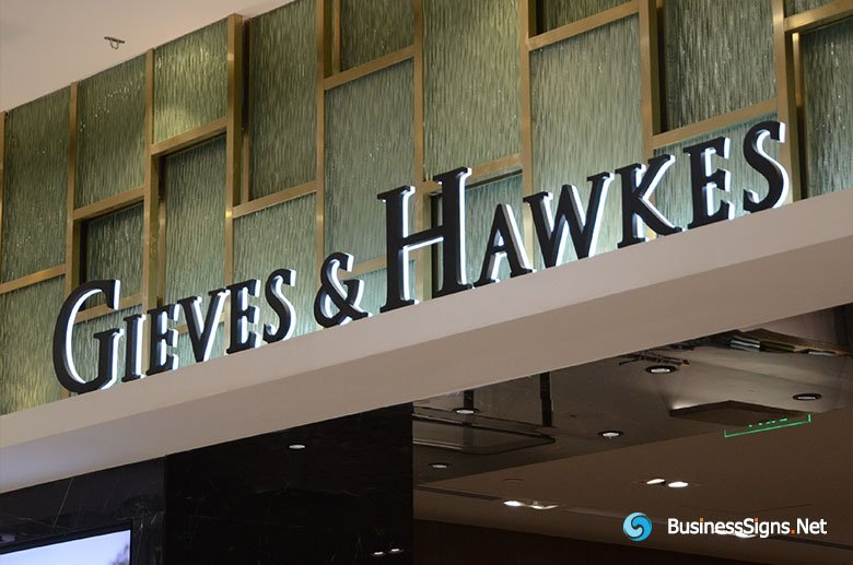 3D LED Backlit Signs With Painted Stainless Steel Letter Shell And Visible Acrylic Back Panel For Gieves & Hawkes