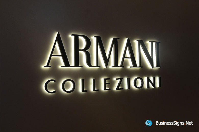 3D LED Side-lit Signs With Black Acrylic Front-panel For Armani Collezioni