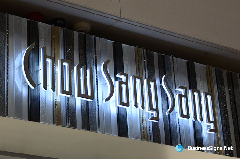 3D LED Backlit Signs With Painted Stainless Steel Letter Shell And Visible Acrylic Back Panel For Chow Sang Sang