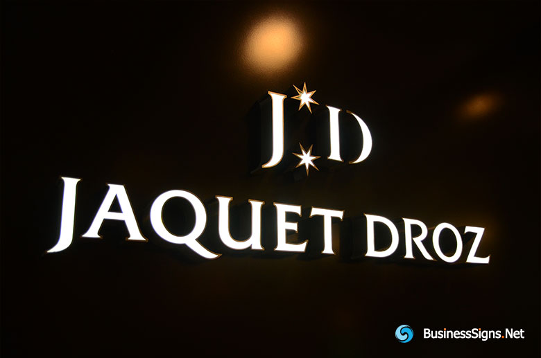 3D LED Front-lit Signs With Mirror Polished Stainless Steel Letter Shell For Jaquet-Droz