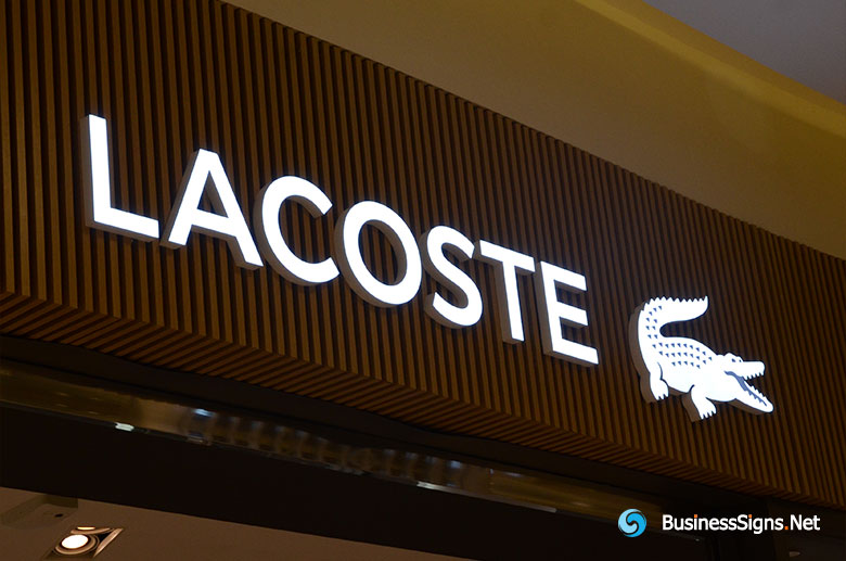3D LED Front-lit Signs With Painted Stainless Steel Letter Shell For Lacoste