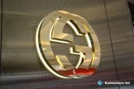 3D LED Backlit Signs With Mirror Polished Gold Plated Letter Shell For Gucci
