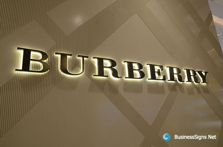 3D LED Backlit Signs With Plated Antique Copper Letter Shell For Burberry