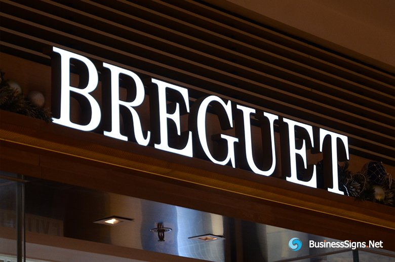 3D LED Front-lit Signs With Painted Stainless Steel Letter Shell For Breguet