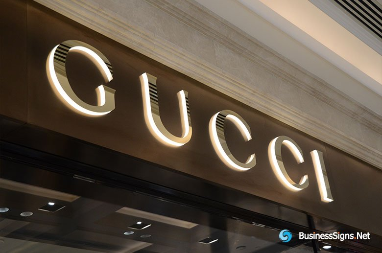 3D LED Side-lit Signs With Gold Plated Mirror Polished Stainless Steel Front-panel For Gucci