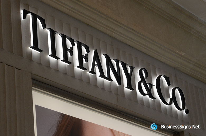 3D LED Back-lit Signs With Painted 3D Stainless Steel Letter Shell And Visible Thickness Acrylic Back Panel For Tiffany & Co.