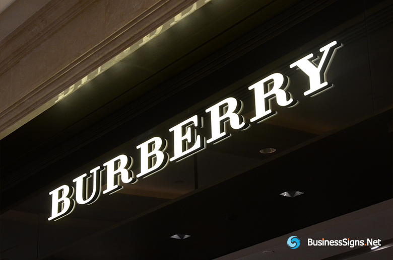 3D LED Front-lit Signs With Painted Engraved Acrylic Letter Shell For Burberry