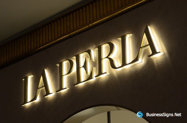 3D LED Back-lit Signs With Gold Plated Brushed Stainless Steel Letter Shell And Visible Thickness Acrylic Back Panel For  La Perla