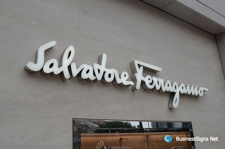 3D LED Front-lit Signs With Mirror Polished Stainless Steel Letter Shell For Salvatore Ferragamo