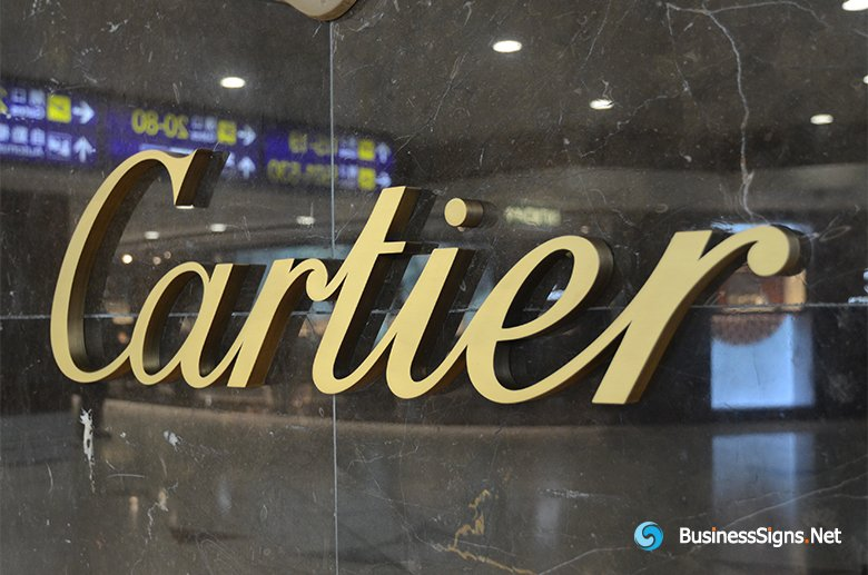 3D Brushed Brass Signs For Cartier