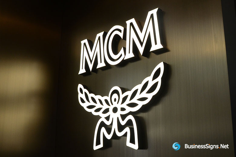 3D LED Front-lit Signs With Bronze Plated Brushed Stainless Steel Letter Shell For Modern Creation Munich (MCM)