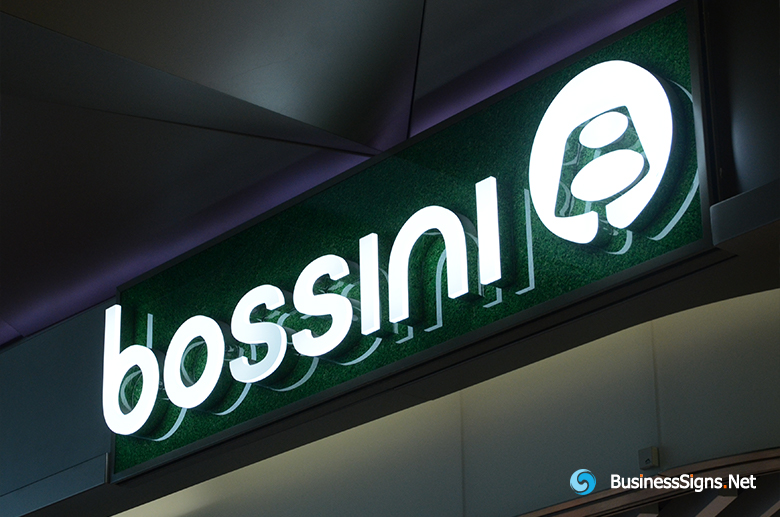 3D LED Front-lit Signs With Mirror Polished Stainless Steel Letter Shell And Visible Thickness Acrylic Front-panel For Bossini