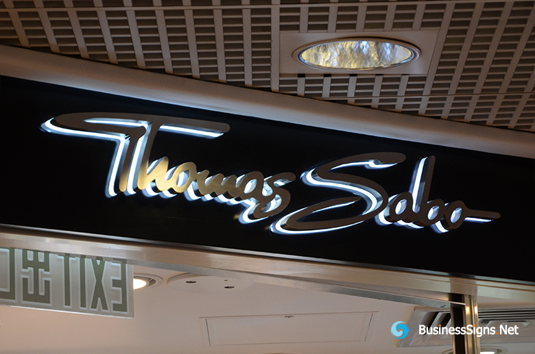 3D LED Backlit Signs With Brushed Stainless Steel Letter Shell And Visible Thickness Acrylic Back Panel For Thomas Sabo