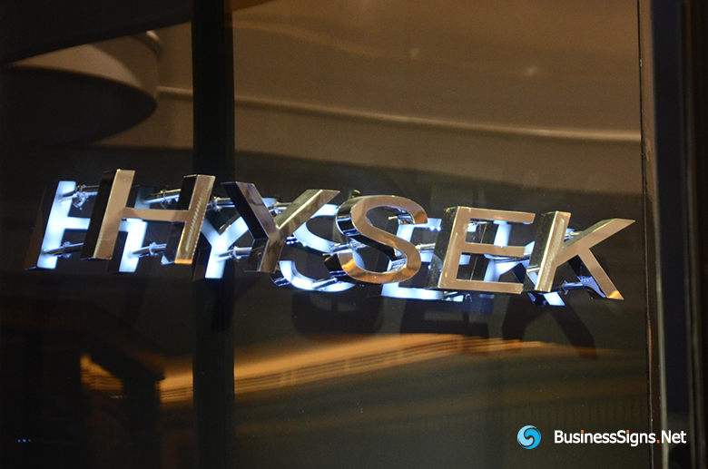 3D LED Backlit Signs With Mirror Polished Stainless Steel Letter Shell For Hysek