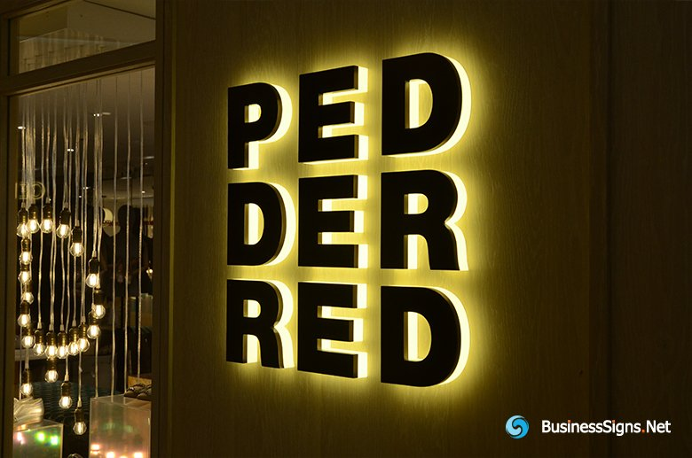 3D LED Backlit Signs With Powder Coated Stainless Steel Letter Shell And Visible Thickness Acrylic Back Panel For Pedder Red