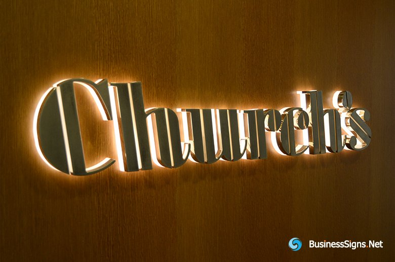 3D LED Back-lit Signs With Gold Plated Brushed Stainless Steel Letter Shell And Visible Thickness Acrylic Back Panel For Church's