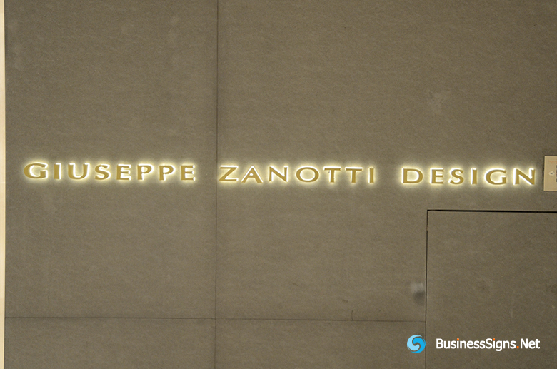 3D LED Back-lit Signs With Gold Plated Brushed Stainless Steel Letter Shell And Visible Thickness Acrylic Back Panel For Giuseppe Zanotti