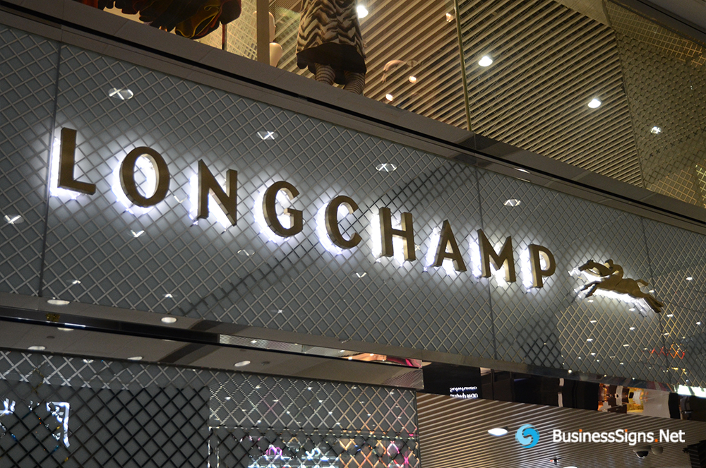 3D LED Backlit Signs With Brushed Stainless Steel Letter Shell For Longchamp