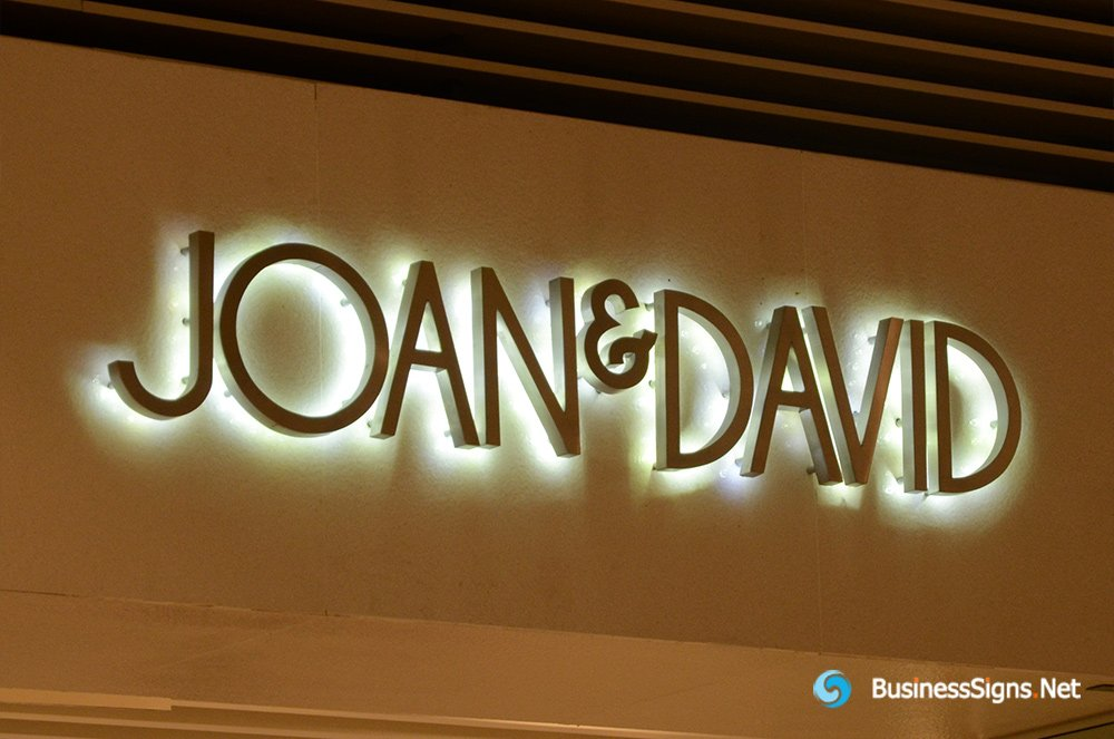 3D LED Backlit Signs With Brushed Stainless Steel Letter Shell For Joan & David