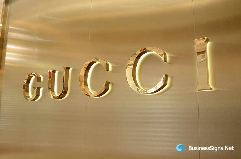 3D LED Backlit Letters Signs With Mirror Polished Gold Plated Letter Shell For Gucci