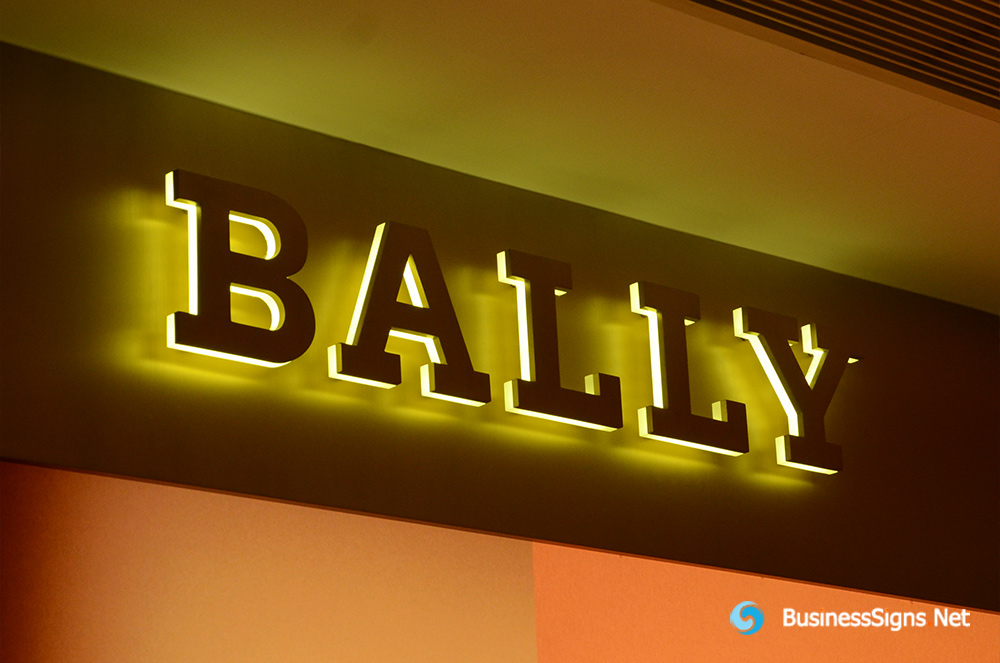 3D LED Side-lit Signs With Gold Plated Brushed Stainless Steel Front-panel For Bally