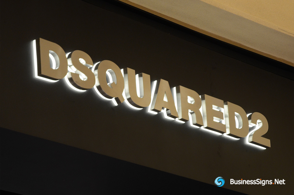 3D LED Backlit Signs With Brushed Stainless Steel Letter Shell And Visible Thickness Acrylic Back Panel For DSQUARED2
