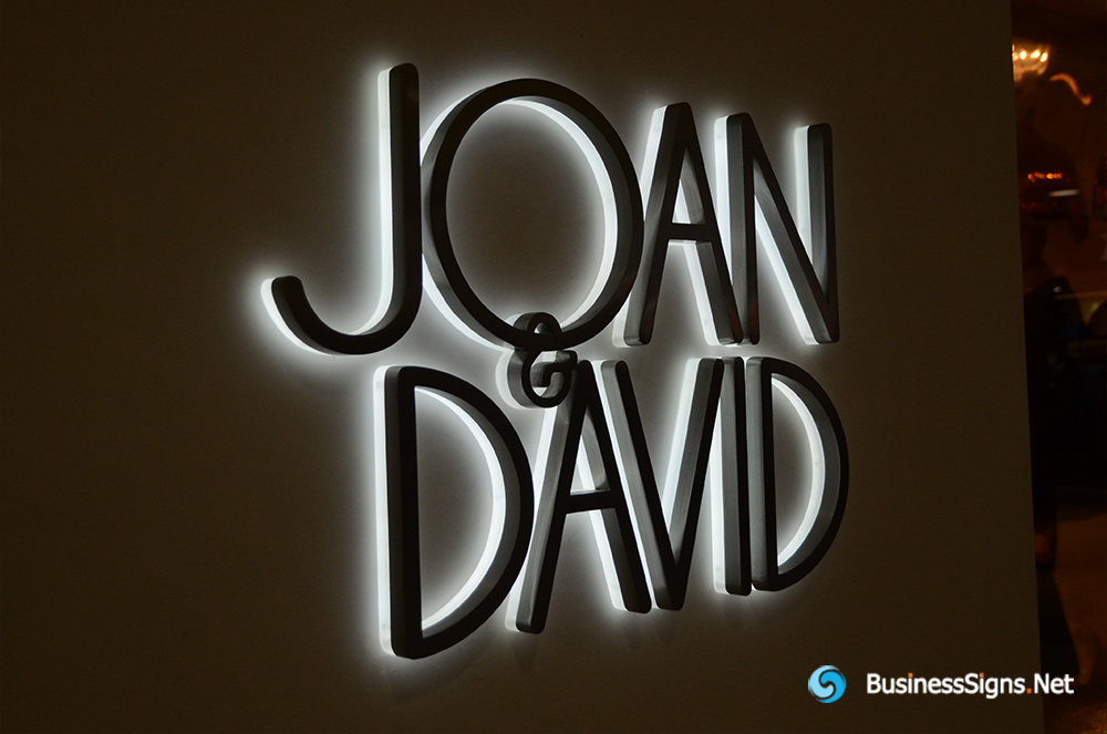 3D LED Backlit Signs With Powder Coated Stainless Steel Letter Shell And Visible Thickness Acrylic Back Panel For Joan & David