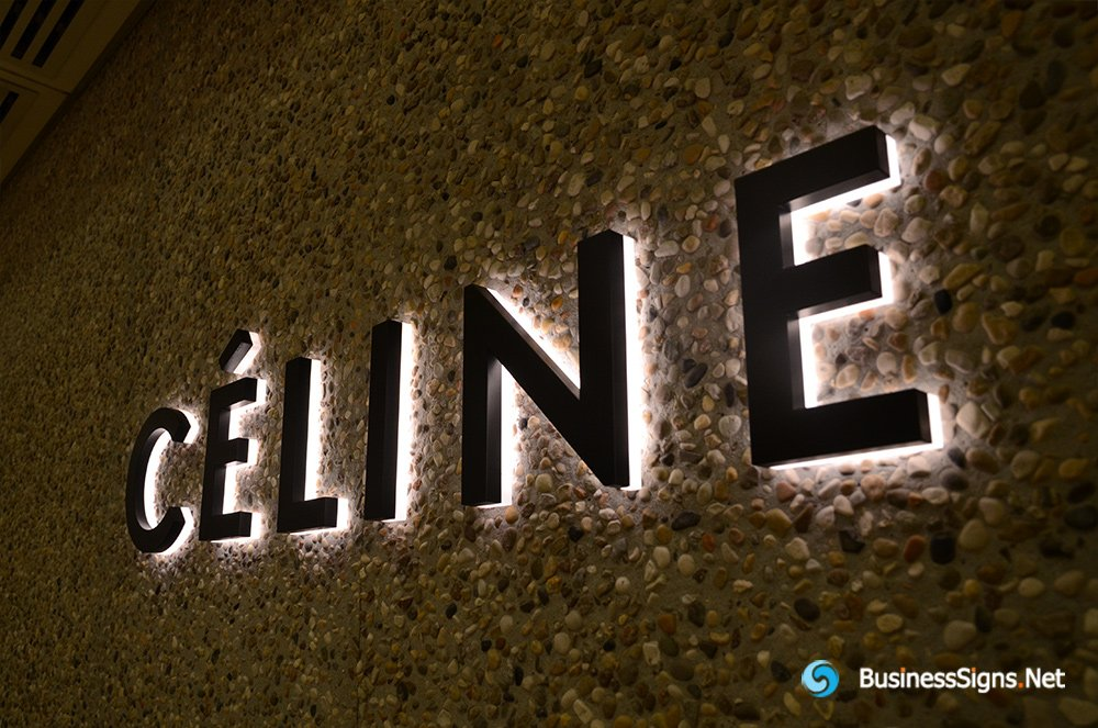 3D LED Backlit Signs With Painted Stainless Steel Letter Shell And Visible Thickness Acrylic Back Panel For Céline