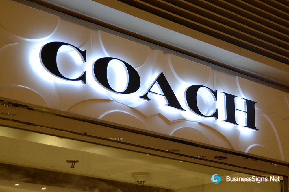3D LED Backlit Signs With Painted Stainless Steel Letter Shell And Visible Thickness Acrylic Back Panel For Coach