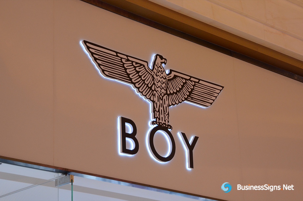 3D LED Backlit Signs With Brushed Stainless Steel Letter Shell And Visible Thickness Acrylic Back Panel For BOY London