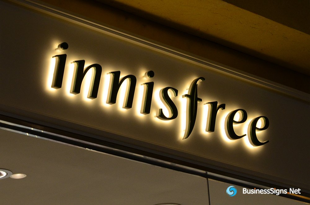 3D LED Backlit Signs With Painted Stainless Steel Letter Shell For Innisfree