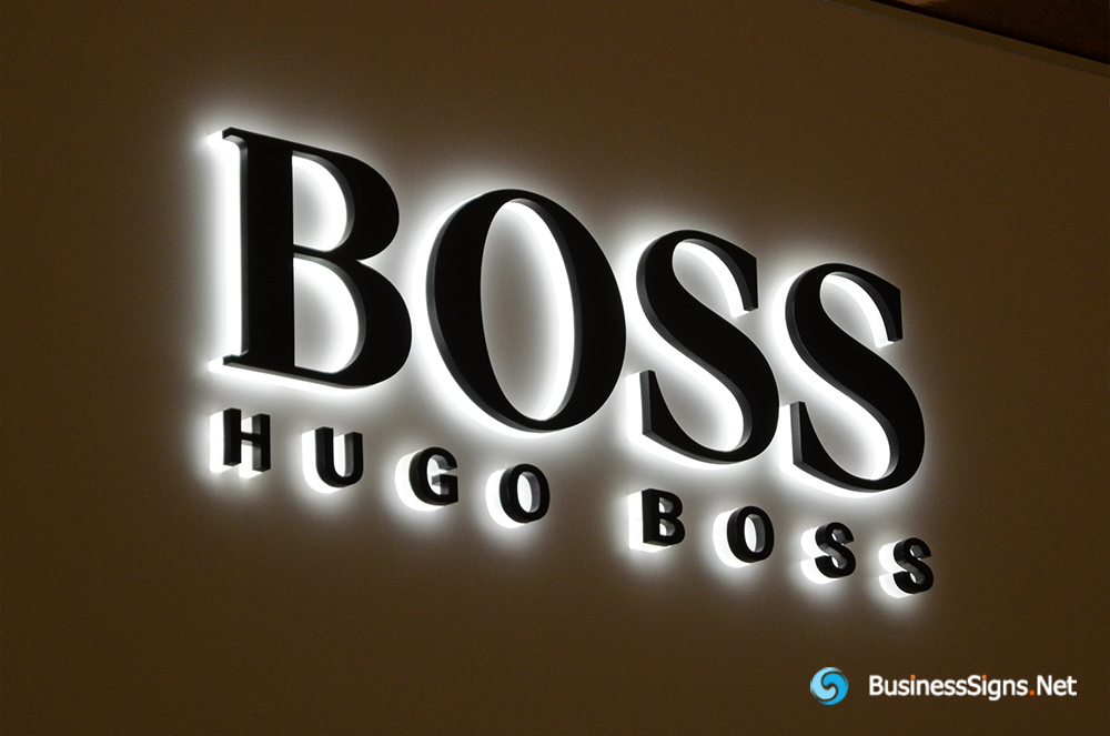 3D LED Backlit Signs With Powder Coated Stainless Steel Letter Shell And Visible Acrylic Back Panel For Hugo Boss