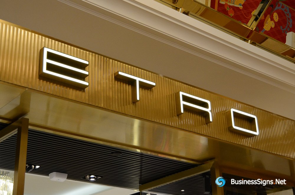 3D LED Front-lit Signs With Gold Plated Brushed Stainless Steel Letter Shell For ETRO