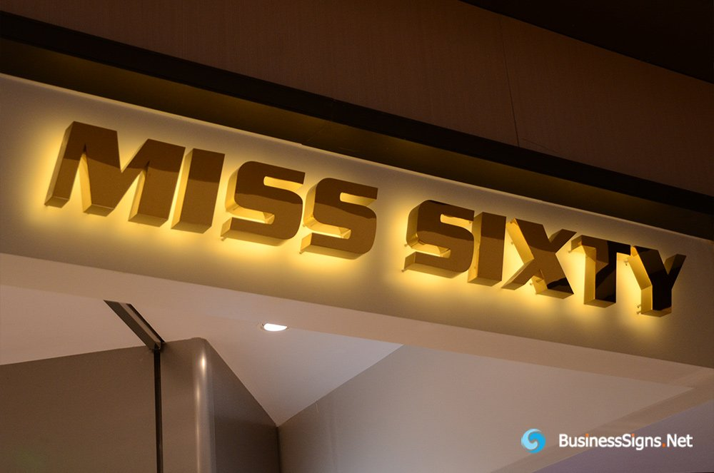 3D LED Backlit Letters Signs With Mirror Polished Gold Plated Letter Shell For Miss Sixty