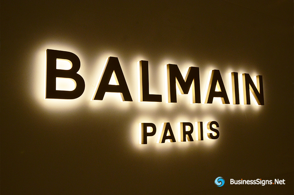 3D LED Back-lit Signs With Gold Plated Brushed Stainless Steel Letter Shell And Visible Thickness Acrylic Back Panel For Balmain