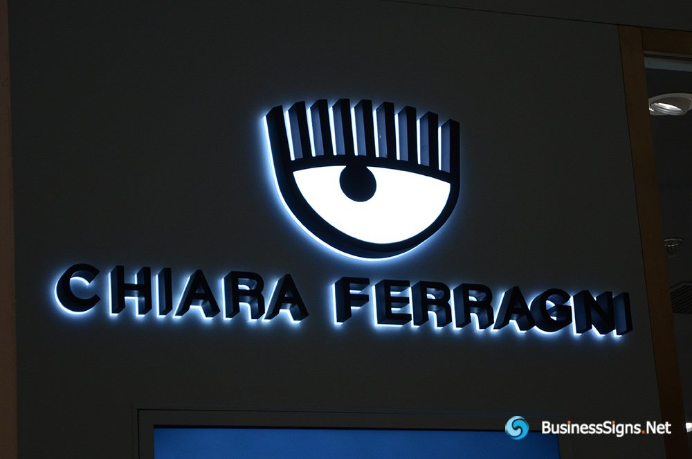 3D LED Backlit Signs With Powder Coated Stainless Steel Letter Shell And Visible Acrylic Back Panel For Chiara Ferragni