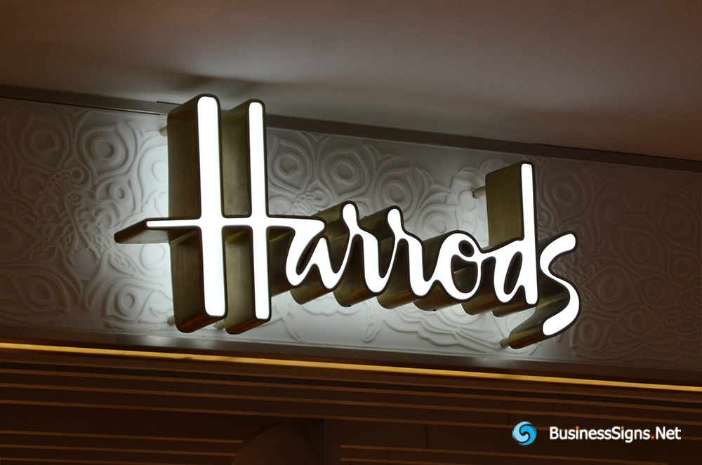 3D LED Double-sided-lit Signs With Brushed Stainless Steel Letter Shell For Harrods