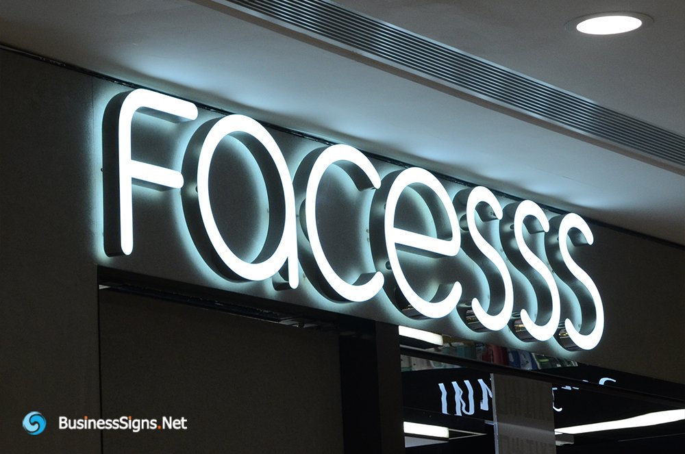 3D LED Double-sided-lit Signs With Brushed Stainless Steel Letter Shell For Facesss