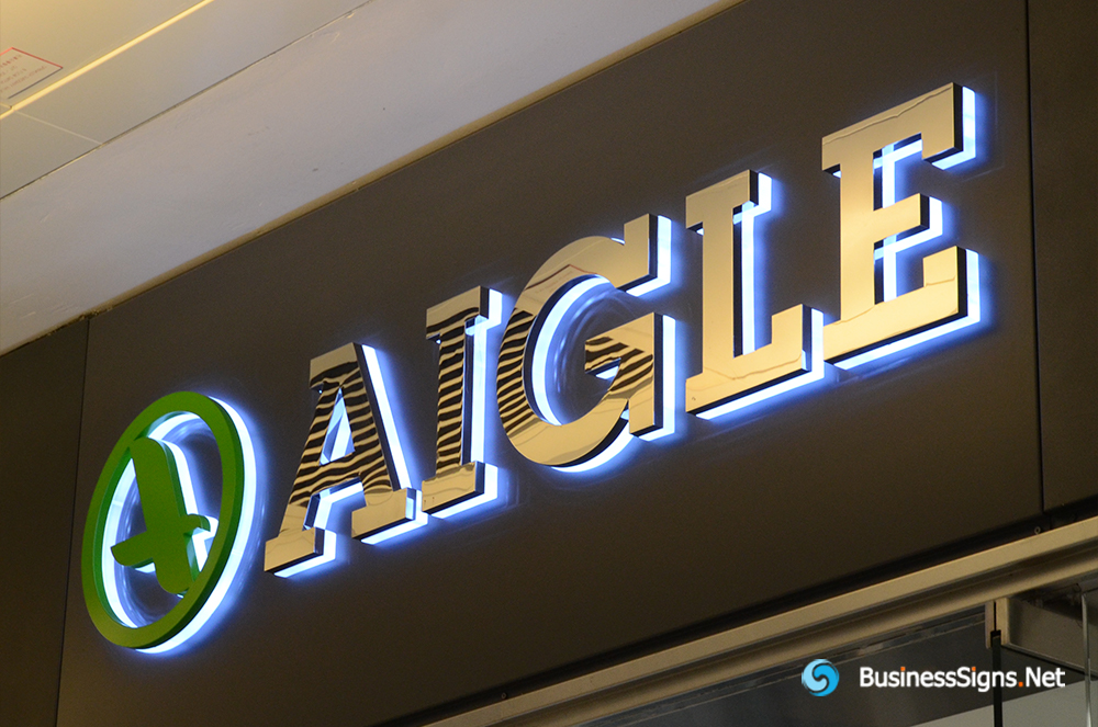 3D LED Backlit Signs With Mirror Polished Stainless Steel Letter Shell And Visible Thickness Acrylic Back Panel For Aigle