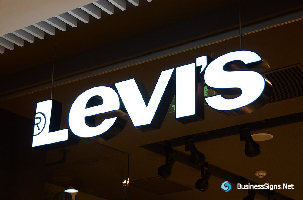 3D LED Front-lit Signs With Painted Stainless Steel Letter Shell For Levi's