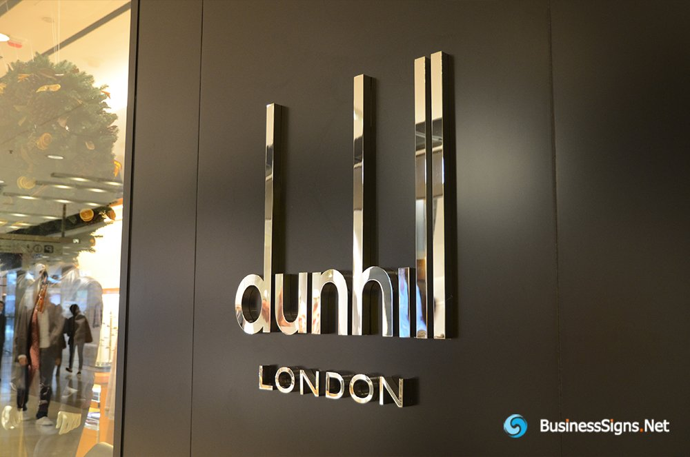 3D Fabricated Mirror Polished Stainless Steel Signs For Dunhill