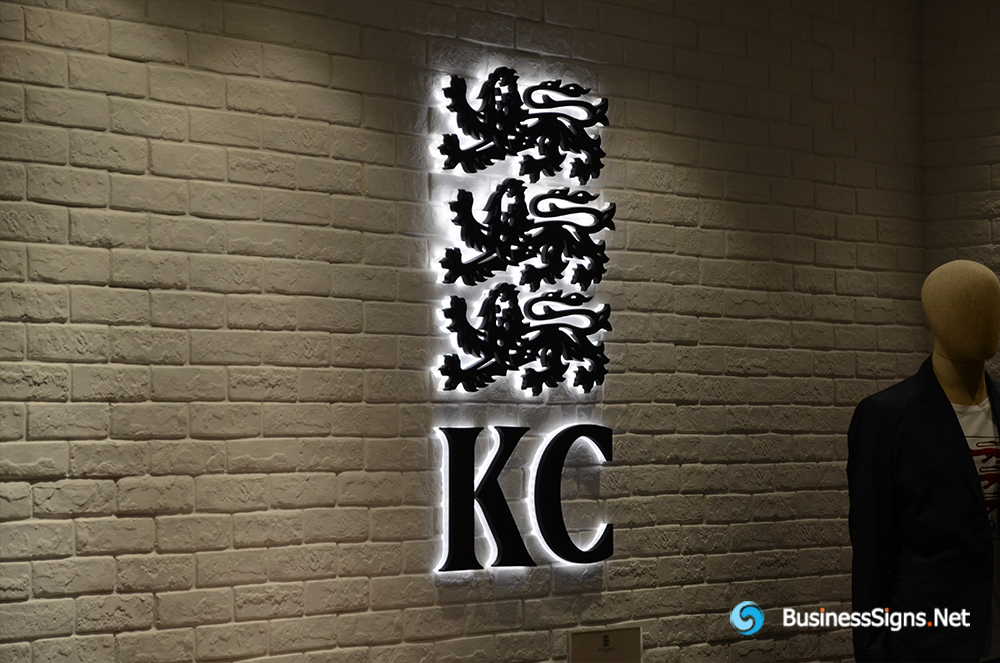 3D LED Backlit Signs With Powder Coated Stainless Steel Letter Shell And Visible Acrylic Back Panel For Kent & Curwen