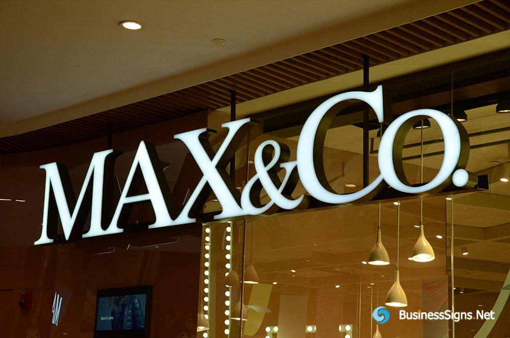 3d-led-front-lit-signs-with-brushed-stainless-steel-letter-shell-for-maxco