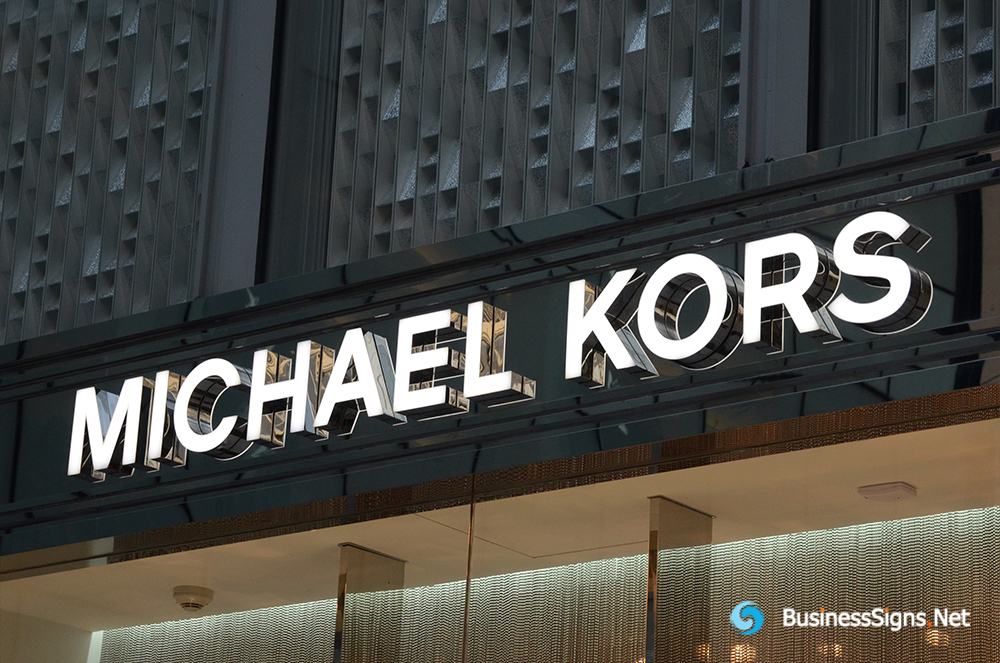 3D LED Front-lit Signs With Mirror Polished Stainless Steel Letter Shell For Michael Kors
