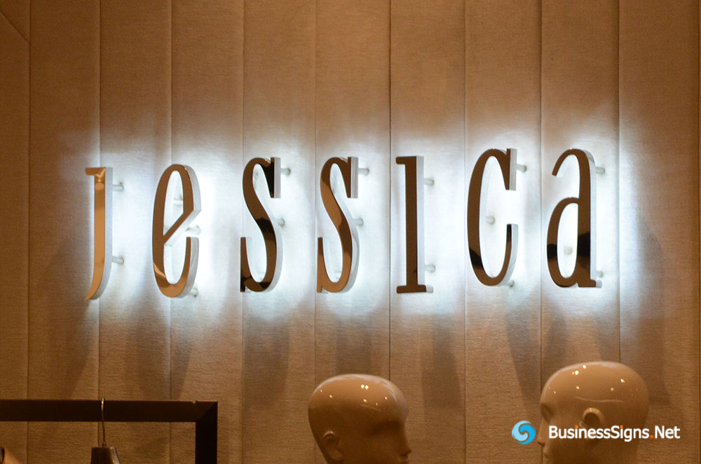 3D LED Backlit Signs With Mirror Polished Stainless Steel Letter Shell For Jessica