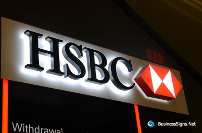 3D LED Backlit Signs With Powder Coated Stainless Steel Letter Shell And Visible Thickness Acrylic Back Panel For HSBC