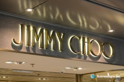 3D LED Backlit Signs With Bronze Plated Brushed Stainless Steel Letter Shell For Jimmy Choo